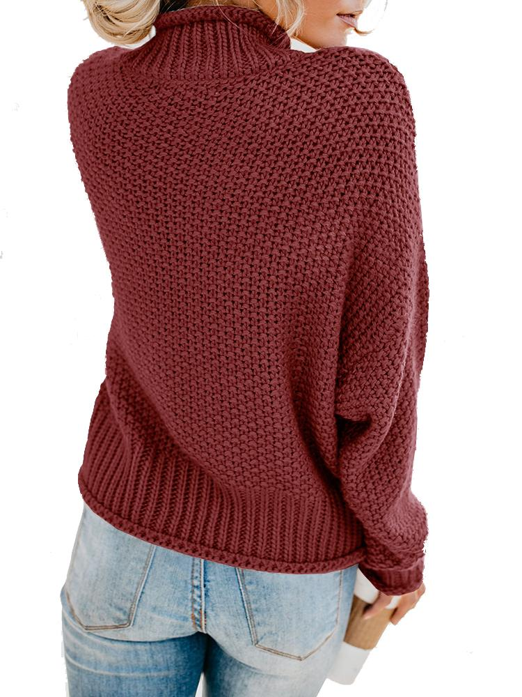 Turtleneck Sweaters Long Batwing Sleeve Pullover - Vieley