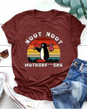 Vieley Noot Noot Letter Printed Penguin Graphic T-shirts Short Sleeve Round Neck Tees