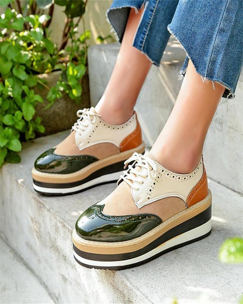 Vieley Womens Platform Oxford Wingtip Casual Shoes