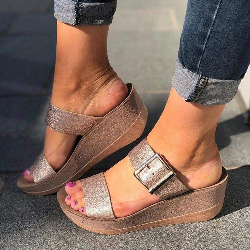 Vieley Womens Buckle Casual Summer Wedge Sandals Slides