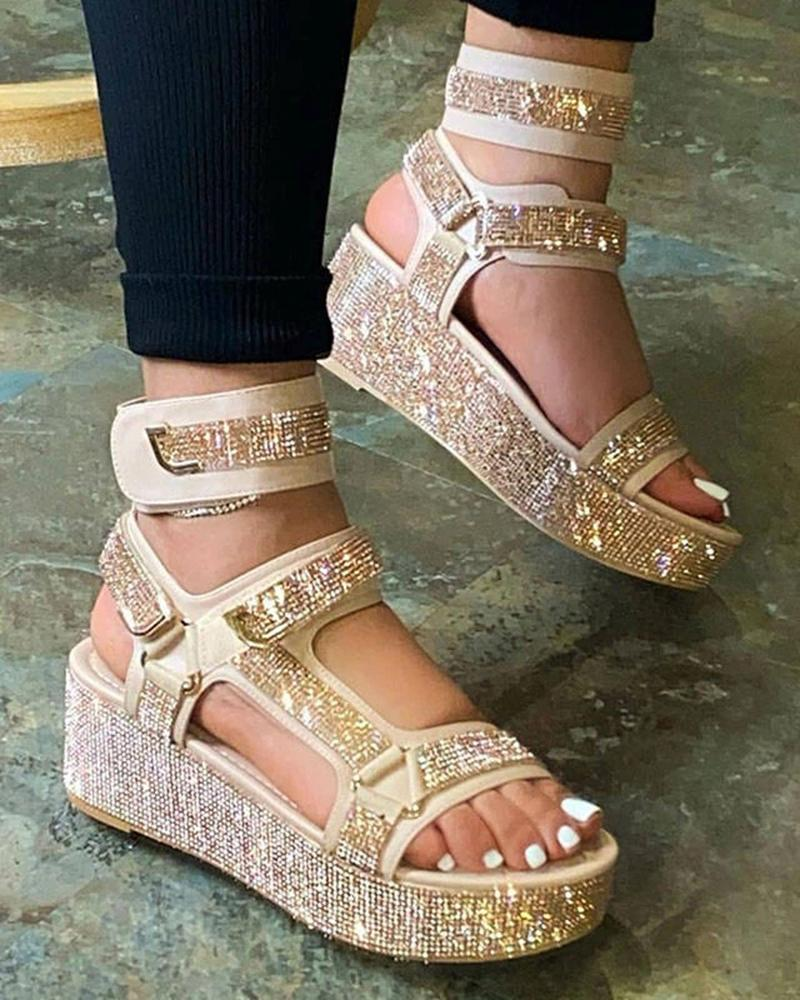 Vieley Ankle Strap Sandals Rhinestone Embellished Side T-strap Velcro Shoes