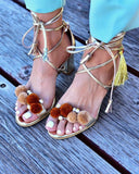Vieley Puffer Ball Bohemian Pearl Emblished Lace-up Tassel Ankle Strap Chunky Heel Point Toe Shinny Sandals