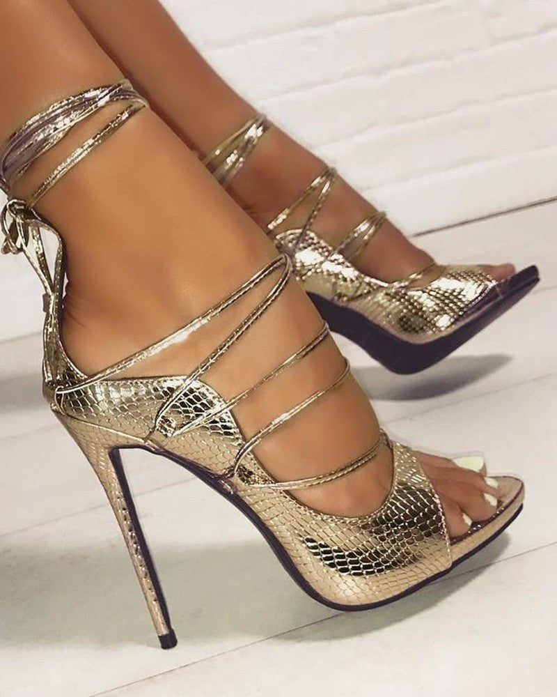 Vieley Snakeskin Lace-Up Thin Heeled Sandals Open Toe High Heel Party Pumps