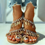 Vieley Leaf Tassel Single Toe Sandals