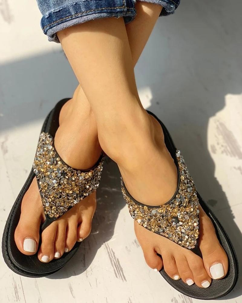 Vieley Open Toe Slip-on Flip Flops Emblished Shiny Slides