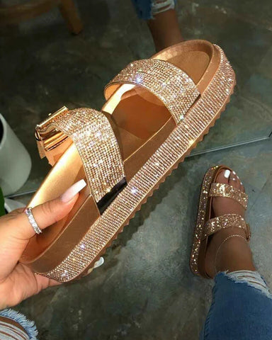 Vieley Rhinestone Emblished Shiny Platform Comfortable Slides Buckled Strap Slip-on Sandals