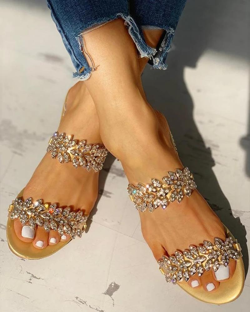 Vieley Shinny Rhinestone Embellishes Double Straps Low Heels