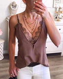 Vieley V-neck Sexy Sleeveless Tank Tops Lace T-shirt Patchwork Blouse