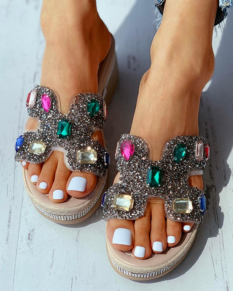 Vieley Rhinestone Emblished Open Toe Platform Sandals Summer Slides