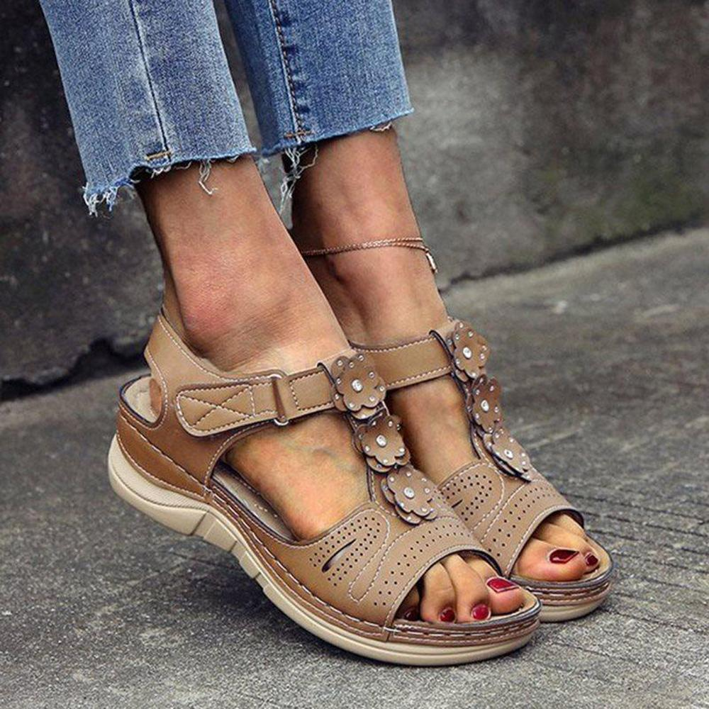 Vieley Open Toe Ankle Strap Buckle Wedge Sandals
