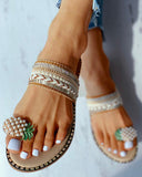 Vieley Toe Ring Flat Sandals Pearl Embellished Strap Slides