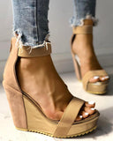 Vieley Open Toe Back Zipper Ankle Strap Wedges Two Strap Sandals