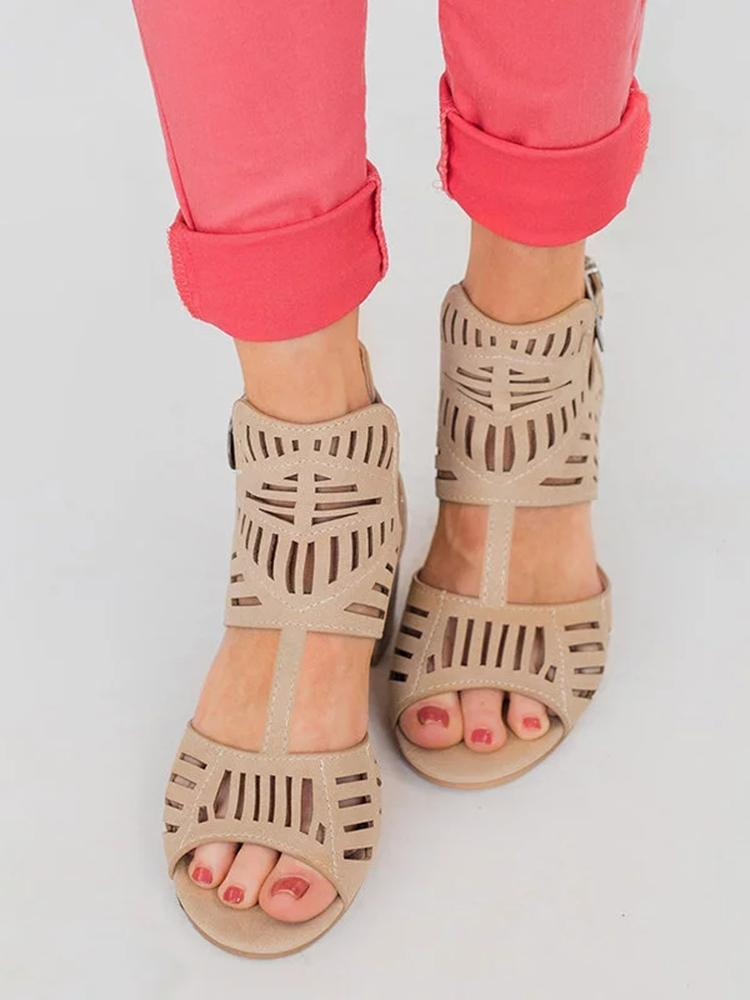 Vieley Stretchy Buckled Ankle Strap Chunky Heel Hollow Out Open Toe Zipper Sandals