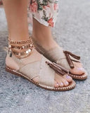 Vieley Women's Sandals With Tassels Summer New Casual Sandals