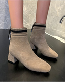 Vieley Solid Faux Suede Boots Chunky Heel Ankle Boots