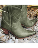 Vieley Slip on Short Boots Pontied Toe Low Heel Western Booties
