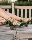 Vieley Point Toe Lace-up Elegant Solid Color Glitter Chunky Heeled Sandals