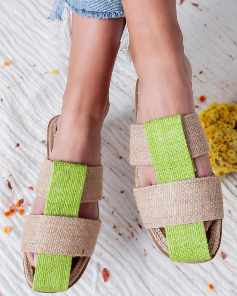 Vieley Womens Color Block Woven Straps Slides