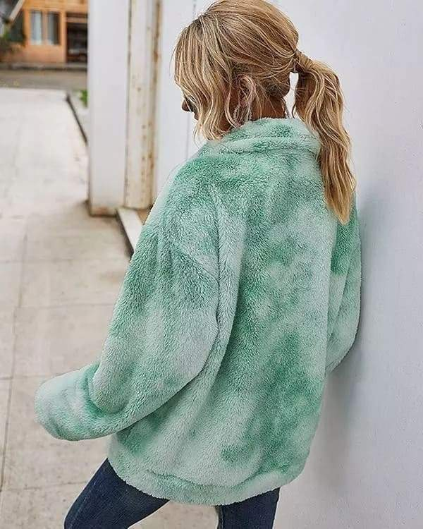Vieley Tie-dyed Pocket Zipper Cardigan Woolen Fleece Jacket