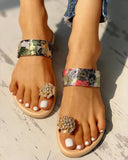 Vieley Crystal Flower Single Toe Strap Comfy Slides