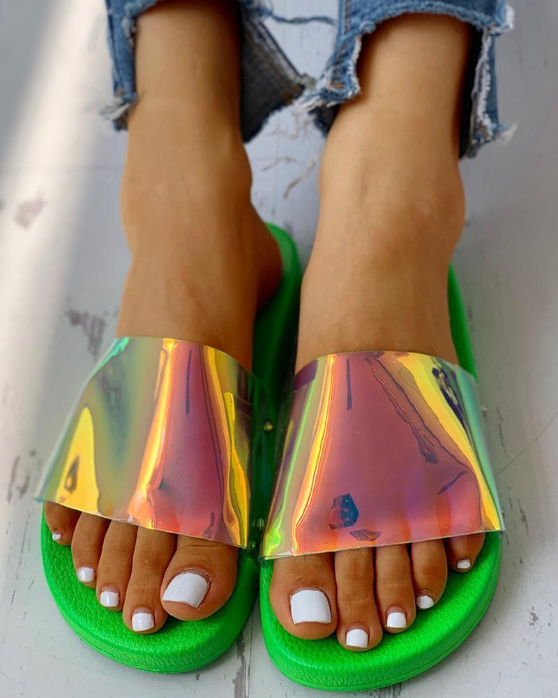 Vieley Coloured Beach Glitter Slides