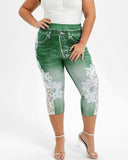 Vieley Womens Plus Size Capri Lace Panel Printed Jeggings Skinny Jeans