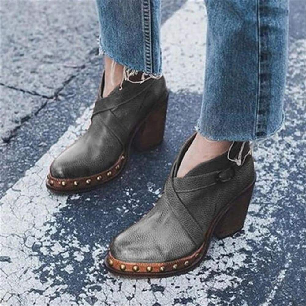Vieley Rivet Cross Strap Block Heel Ankle Boots