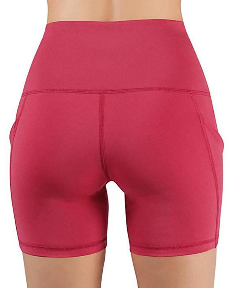 Vieley Yoga Breathable Leggings Women Pockets Skinny High Waist Tummy Control Shorts