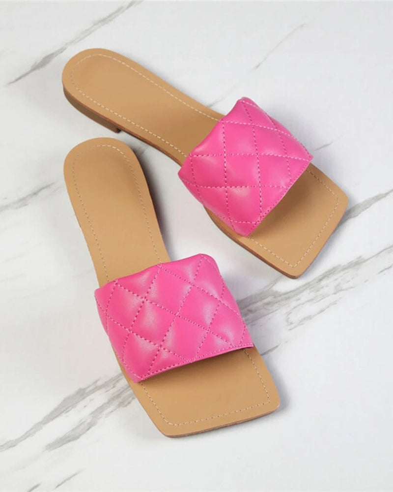 Vieley Square Toe Casual Flat Summer Slides