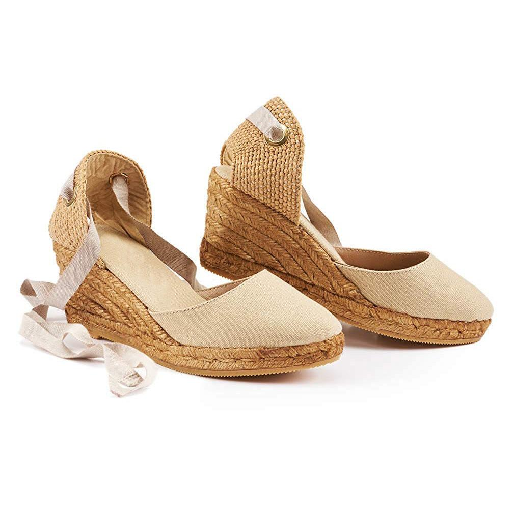 Womens Espadrille Wedge Sandals Closed Toe Lace Up Sandals - Vieley
