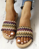 Vieley Espadrille Knitting Transparent Single Strap Beach Slides