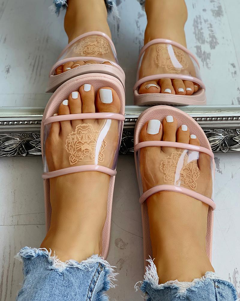 Vieley Transparent Pattern Printed Sandals Casual Slides