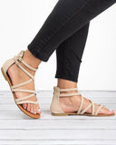 Vieley Womens Casual Gladiator Sandals Strappy Thong Flats Shoes