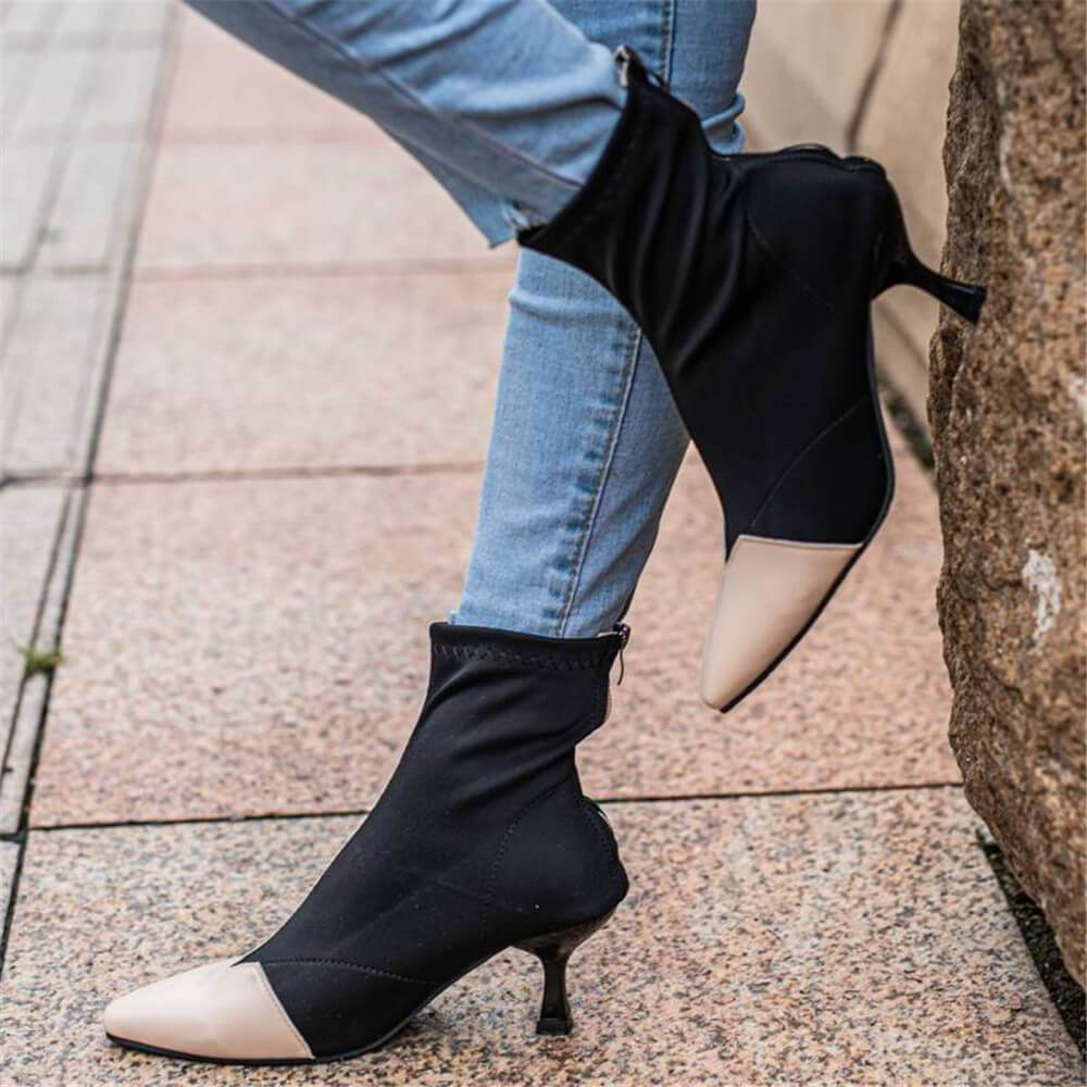 Vieley Stitching Color Boots Thin Heel Point Toe Heels
