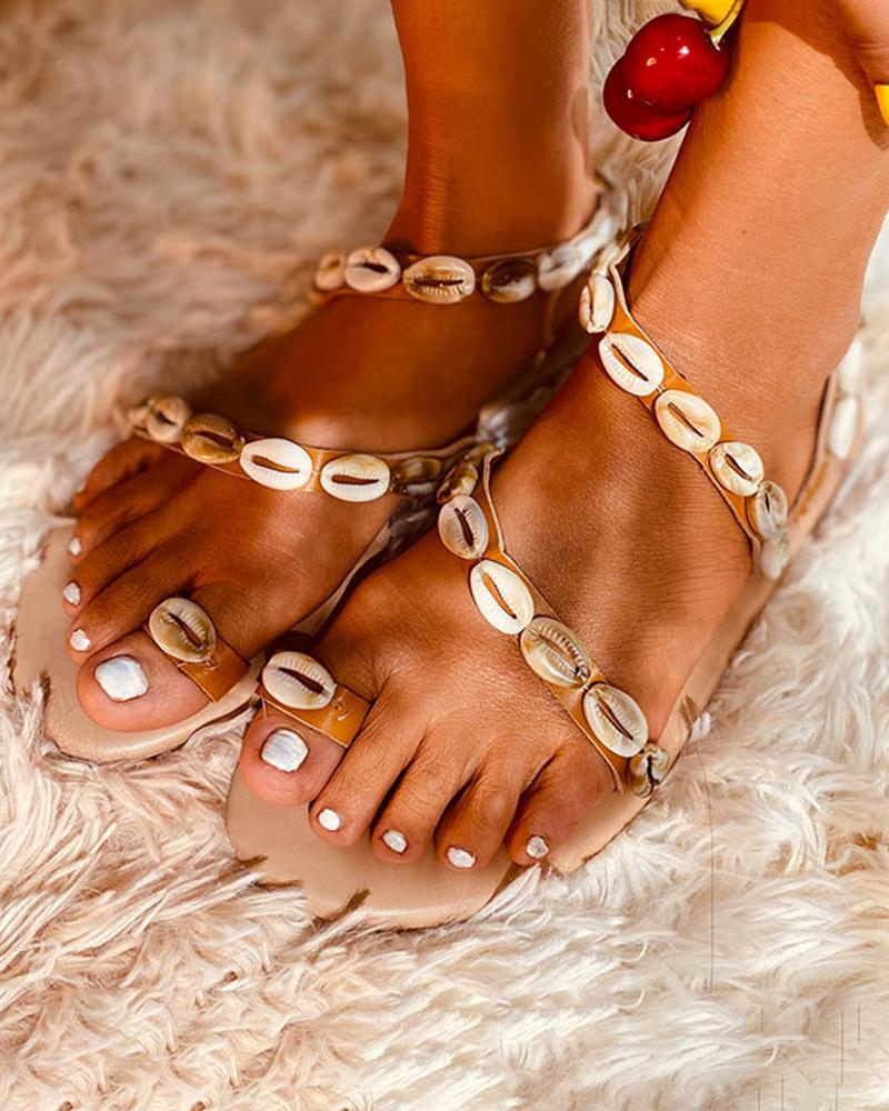 Vieley Shell Pearl Emblished Anklet Ring Toe Non-slip Sandals