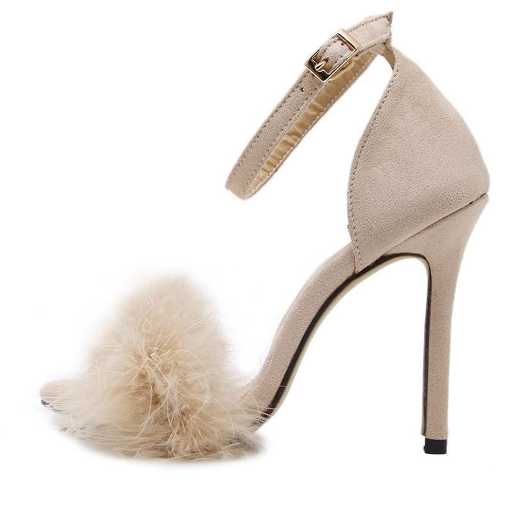 Vieley Womens Elegant Fluffy Decoration High Heels Pumps