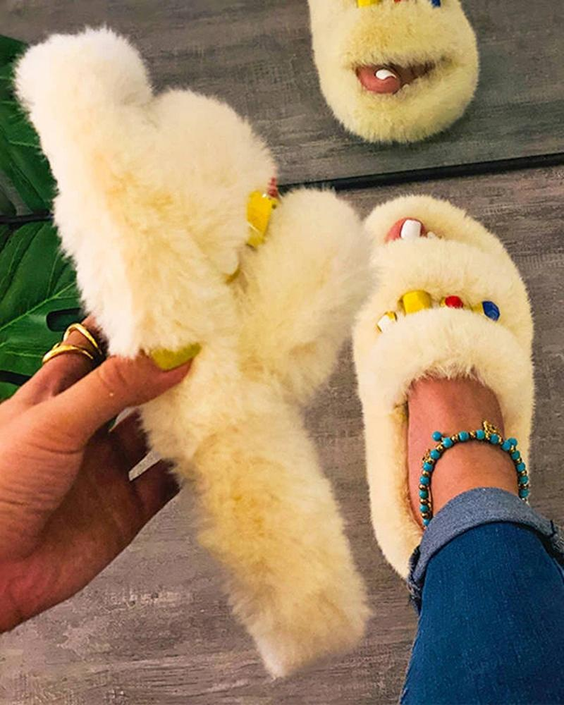 Vieley Womens Comfortable Fluffy Slippers