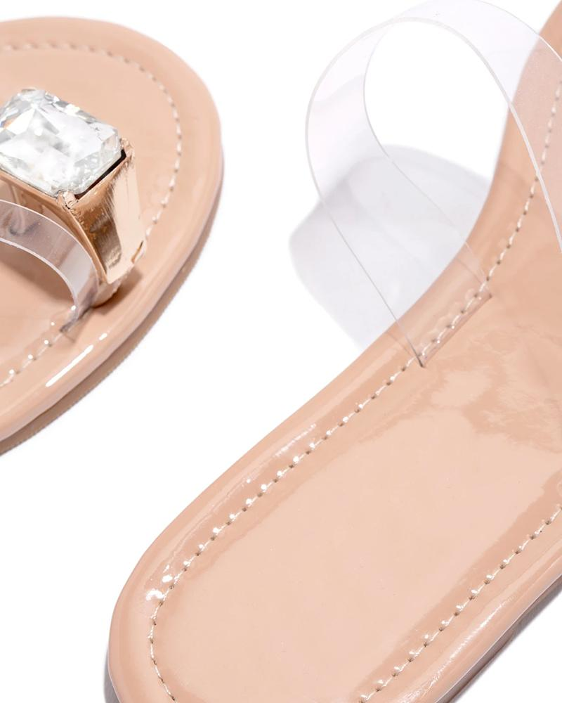 Vieley One Transparent Strap Single Diamond Toe Slides