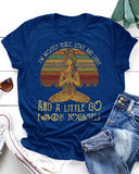 Vieley I'm Mostly Peace, Love and Light Letter Printed Yoga O-Neck Short Sleeve T-Shirt Vintage Graphic Tees