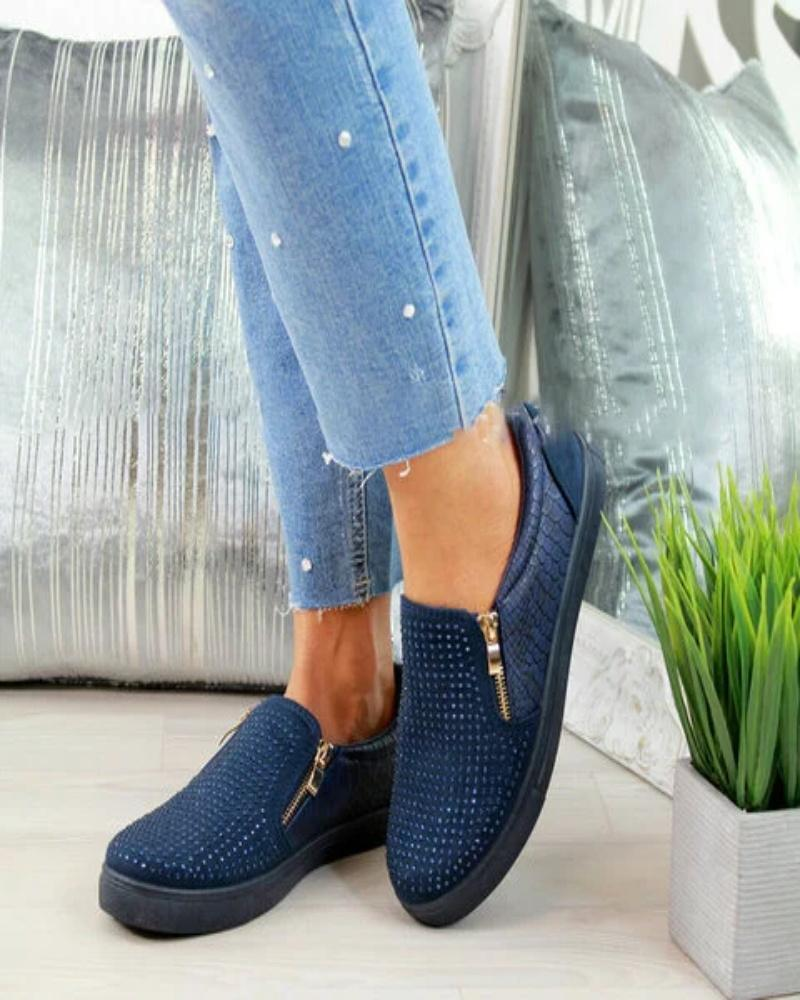 Vieley Rhinestone Embellished Loafers Zipper Slip-on Shoes