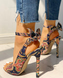 Vieley Floral Open Toe Sandals Ankle Strap Slingback Heels
