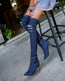 Vieley Women's Thigh High Fashion Boots Over The Knee Block Heel Boots