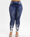 Vieley Juggins Imitation Jeans Print Gym Stretch Sweatpants Plus Size Womens Leggings