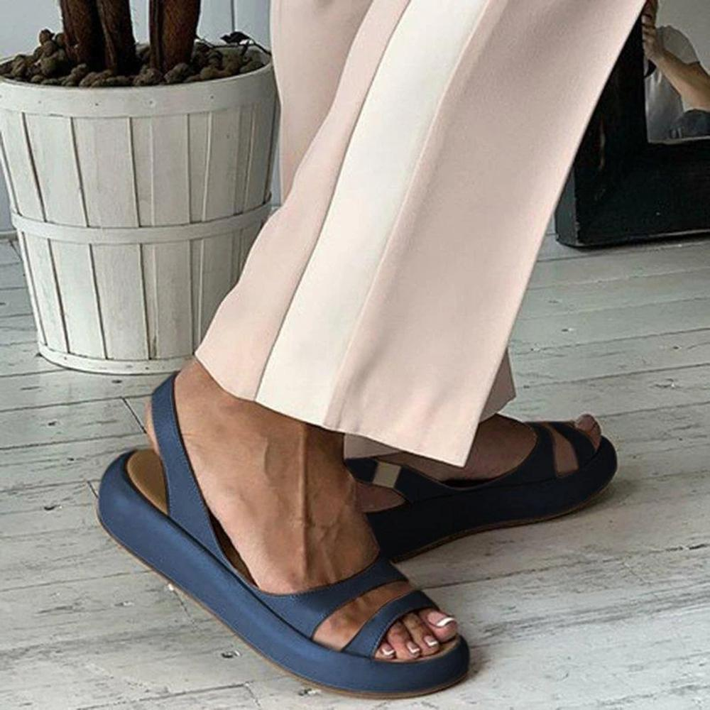 Vieley Womens Slip On Plain Color Casual Sandals