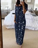 Vieley Womens Starry Sky Printed Nightdress Short Sleeve Maxi Dresses