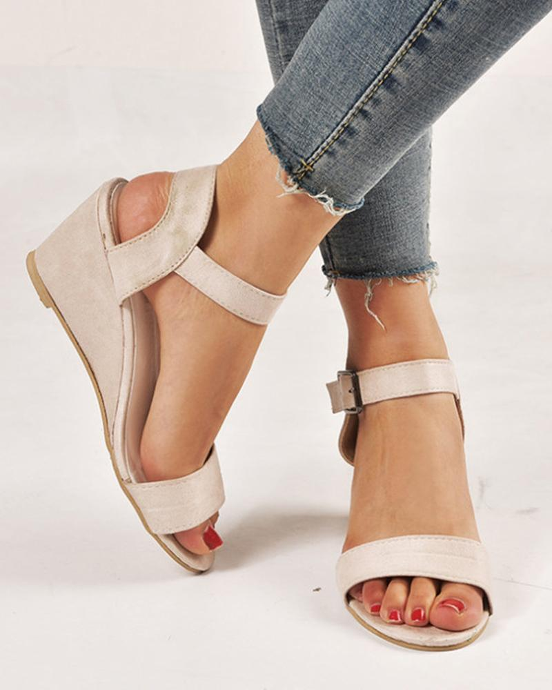 Vieley Women Open Toe Slingback Buckled Ankle Strap Wedges Solid Sandals