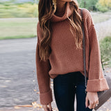 Turtleneck Oversized Sweaters Batwing Sleeve Chunky Loose Slit Pullover Tops