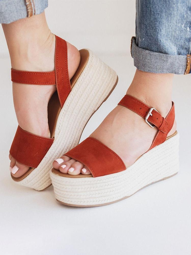 Vieley Open Toe Slingback Espadrille Platform Adjustable Buckled Ankle Strap Sandals