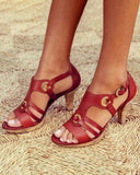 Vieley Elegant Pumps Vintage Buckled Strappy Design Sandals