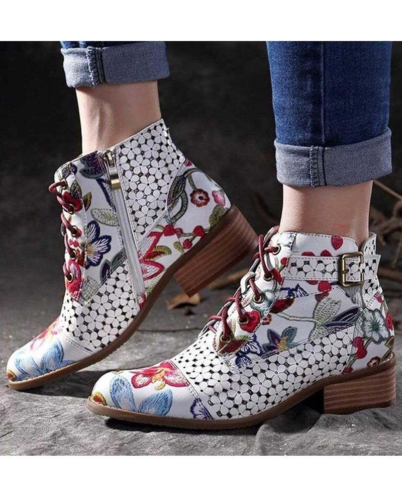Vieley Women Pointed Toe Printing Side Zipper Booties
